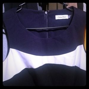 Calvin Klein Navy Blue W. White Swing Dress